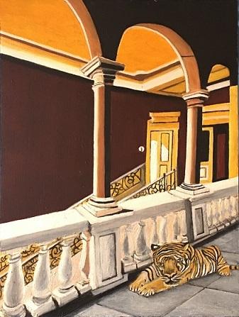 Tiger, Villa, Halle, Malerei
