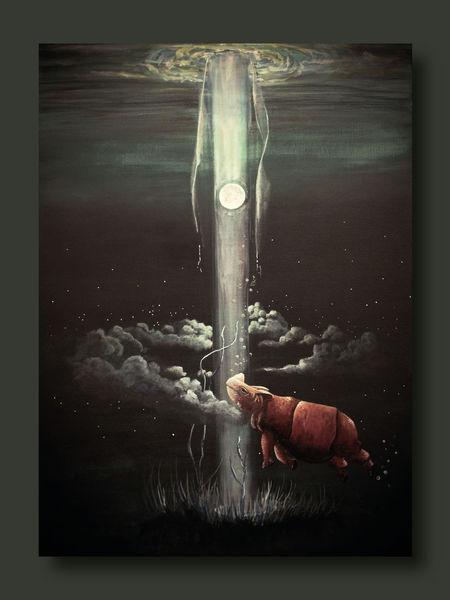 Gras, Unterwasser, Himmel, Nacht, Mond, Licht