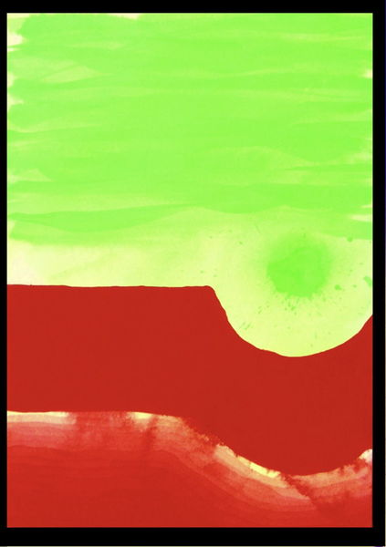 Rot, Grün, Aquarellmalerei, Abstrakt, Aquarell