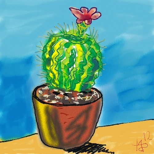 bild kaktus mit bl te corel painter digitale kunst pflanzen von michael d bler bei kunstnet. Black Bedroom Furniture Sets. Home Design Ideas