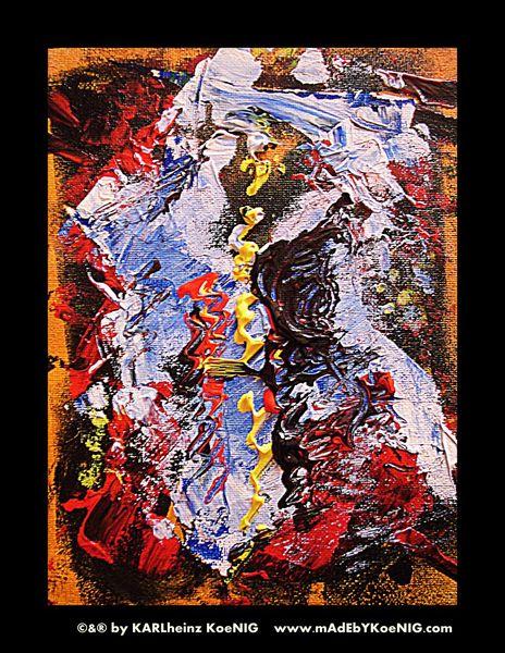 Rot schwarz, Gold, Abstrakt, Surreal, Acrylmalerei, Malen