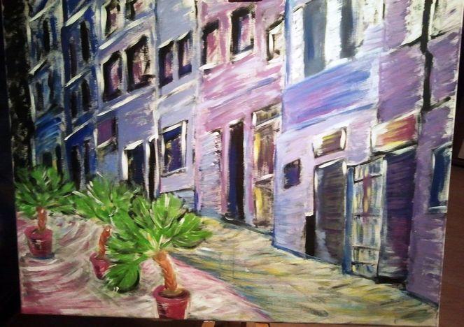 Stadt, Sommer, Blau, Palmen, Gebäude, Malerei