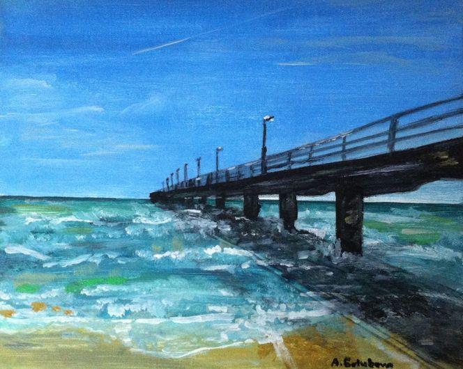 Brücke, Meer, Blau, Acrylmalerei, Malerei