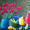 Das Stilleben mit den Tulpen