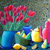 Blumen, Birne, Zitrone, Narzissen
