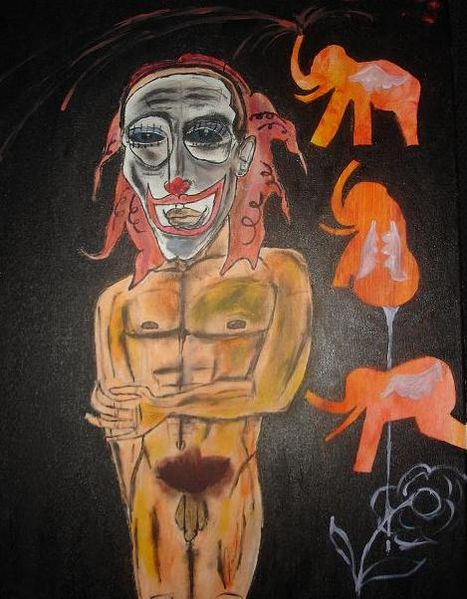 Abstrakt, Dunkel, Clown, Gelb, Akt, Malerei