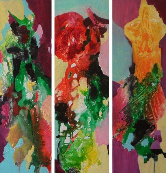 Abstrakt, Natur, Blumen, Malerei, Trio