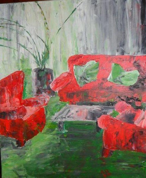 Sitzecke, Rot, Grün, Spachteltechnik, Oase, Malerei