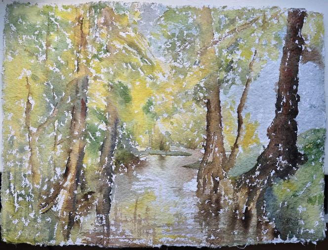 Wasser, Aquarellmalerei, Landschaft, Brandenburg, Fließ, Aquarell