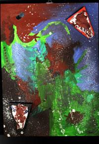 Malerei, Ölmalerei, Surreal, Bunt, Blues