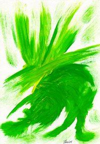 Grünzwerg, Surreal, Bunt, Malerei, Acrylmalerei