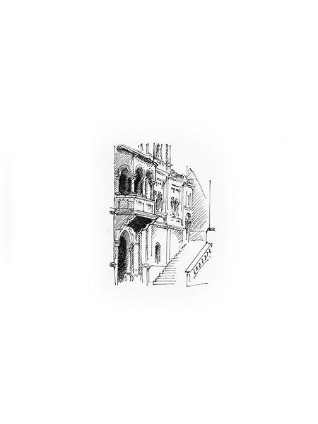Illustration, Schloss, Architektur, Neuschwanstein, Innenhof, Illustrationen
