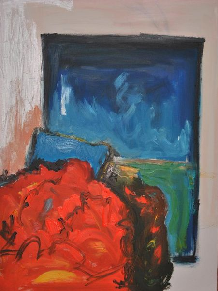 Malerei, Rot, Bett