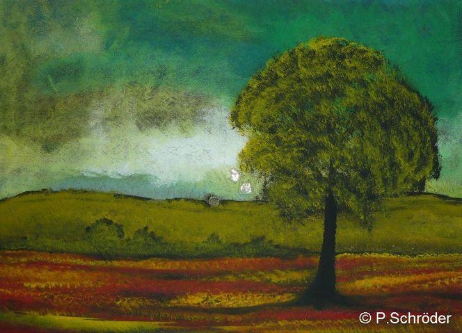 Baum, Landschaft, Malerei,