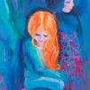 Mädchen, Mädel, Konflikt, Malerei