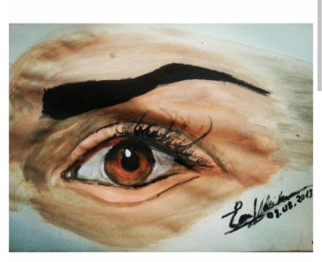 Menschen, Augen, Gemälde, Aquarellmalerei, Wasserfarben, Portrait