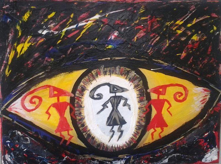 Gefühl, Acrylmalerei, Augen, Ausererdisch, Bunt, Fantasie