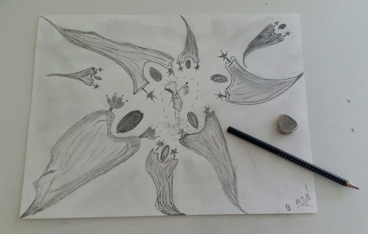 Bleistiftzeichnung, Traum, Zeichnung, Zeichnungen,