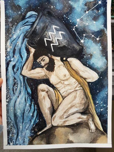 Wassermann, Sternzeichen, Horoskop, Astrologie, Aquarell, Menschen