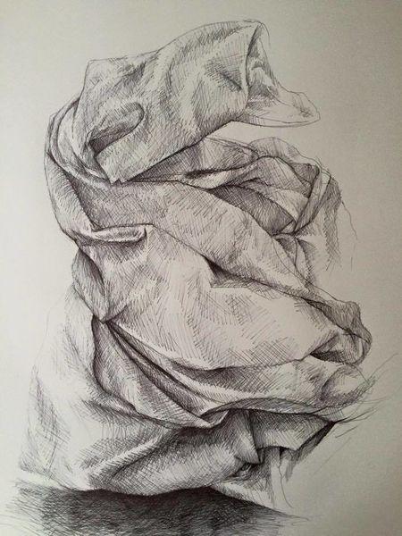 Tuch, Zeichnung, Kugelschreiber, Zeichnen, Zeichnungen
