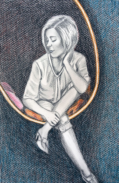 Sitzen, Traum, Frau, Zeichnungen
