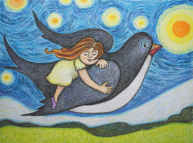 Schwalbe, Mädchen, Fliegen, Zeichnungen