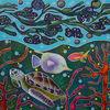 Schildkröte, Fische, Unterwasser, Malerei