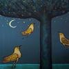 Abend, Baum, Vogel, Mond