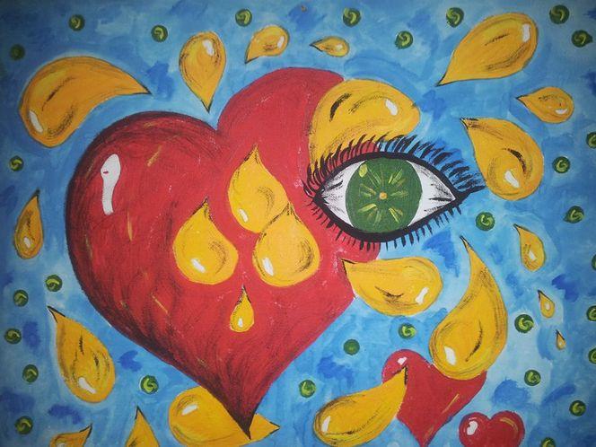 Acrylmalerei, Tränen, Herz, Augen, Malerei