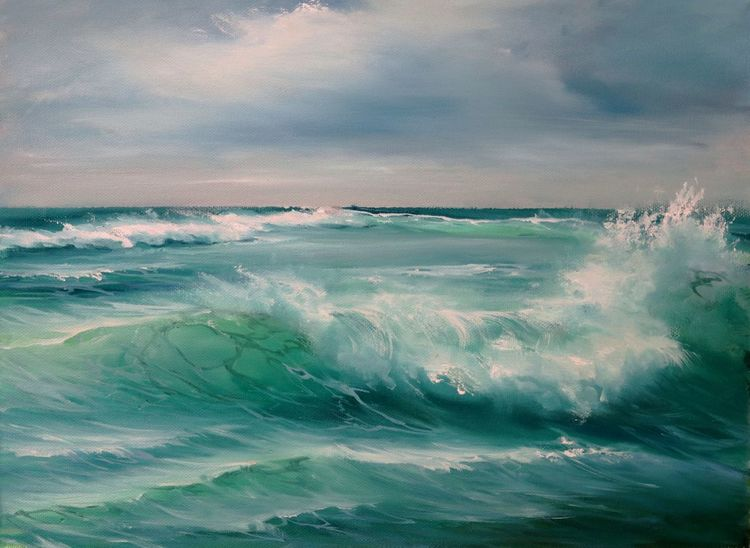 Ölmalerei, Die welle, Meerlandschaft, Malerei, Welle