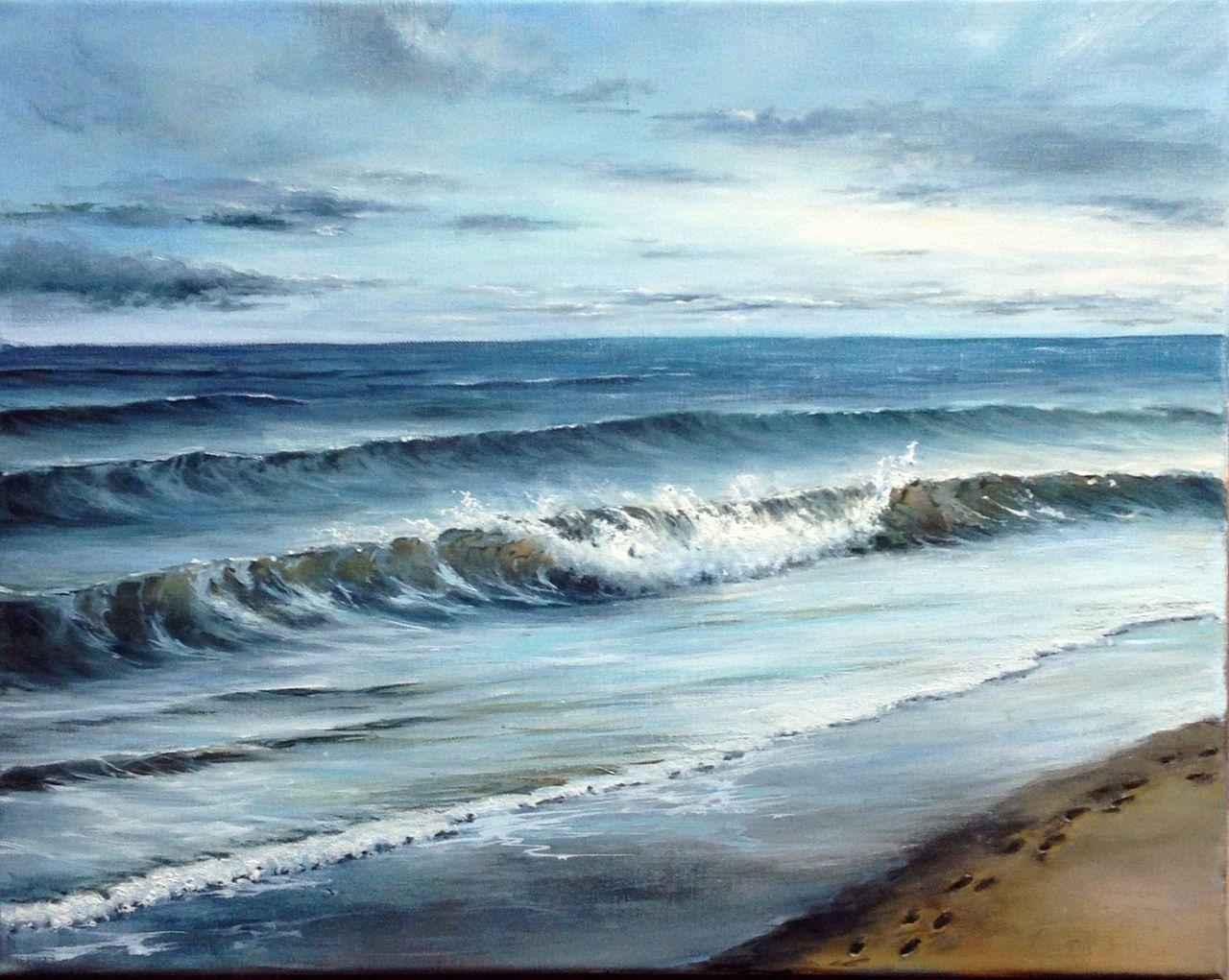 Ölmalerei, Blau, Himmel, Strand
