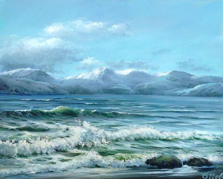 Ölmalerei, Meerlandschaft, Himmel, Blau, Die welle, Berge
