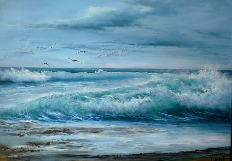 Möwe, Meerlandschaft, Ölmalerei, Blau, Meer, Wolken