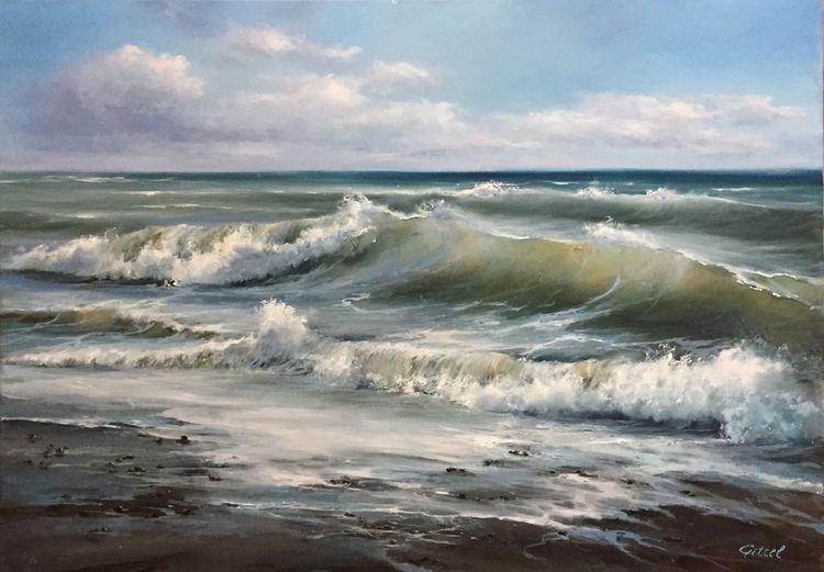 Die welle, Ölmalerei, Wolken, Wasser, Meerlandschaft, Brandung
