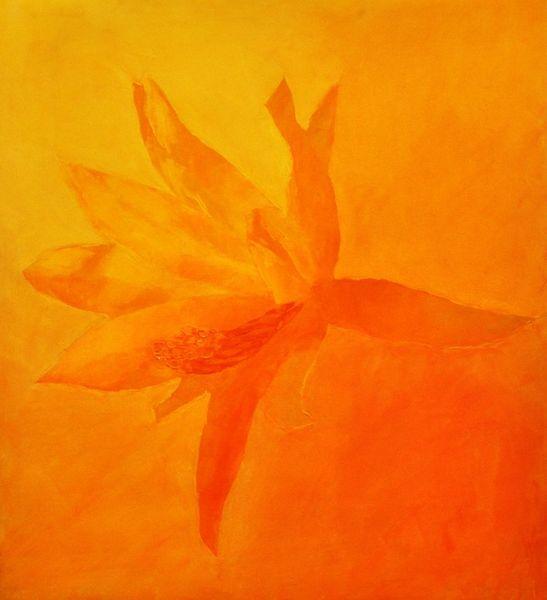 Kakteenblüte, Gelb, Spachteltechnik, Ölmalerei, Malerei, Monochrom