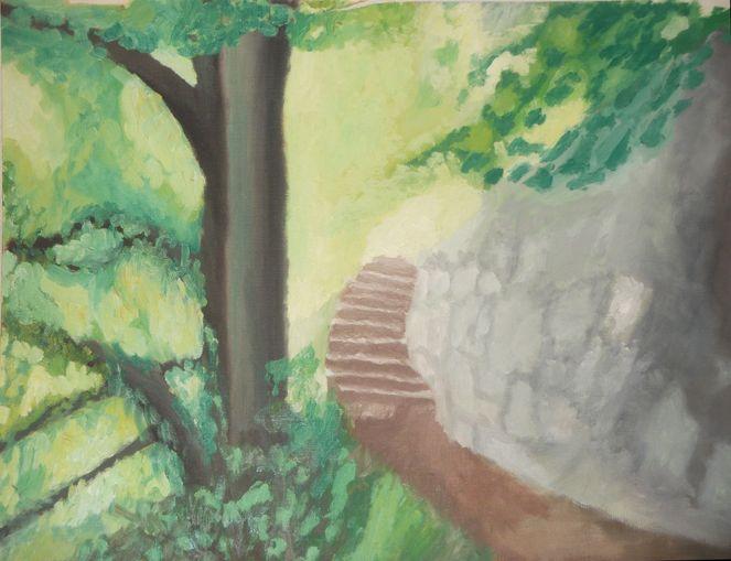 Baum, Steinmauer, Schatten, Licht, Grün, Waldweg