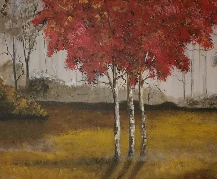Baum, Rot, Nebel, Malerei, Herbst, Grau