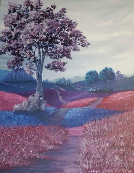 Bunt, Baum, Weg, Landschaft, Malerei