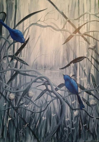 Landschaft, Vogel, Zweig, Grau, Blau, Malerei
