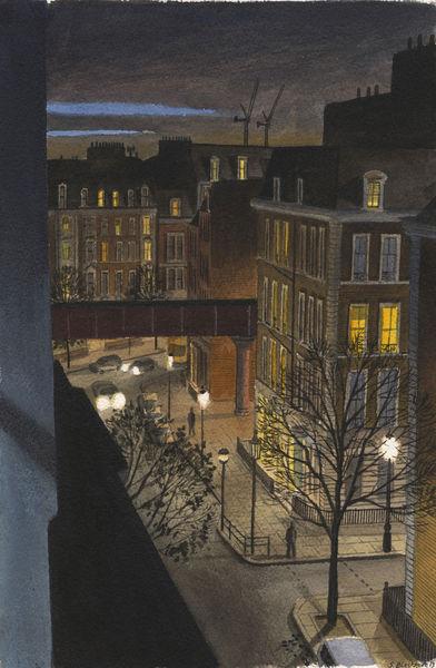Gemälde, Licht, Stadt, Aquarellmalerei, Architektur, Realismus