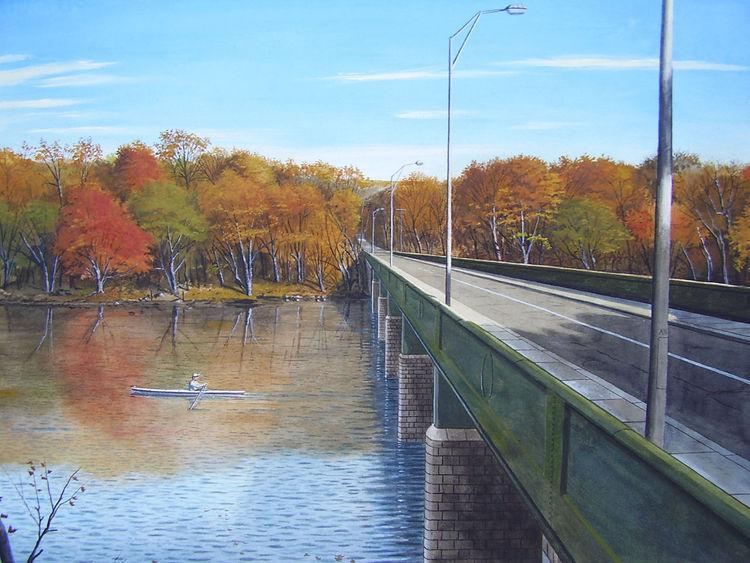 Sonne, Brücke, Braun, Realismus, Malerei, Herbst