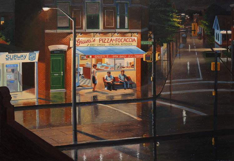 Regen, Pizzeria, Gemälde, Stadtlandschaft, Imbiß, Ölmalerei