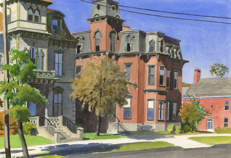 Gebäude, Haus, Aquarellmalerei, Archiektur, Sommer, Malerei