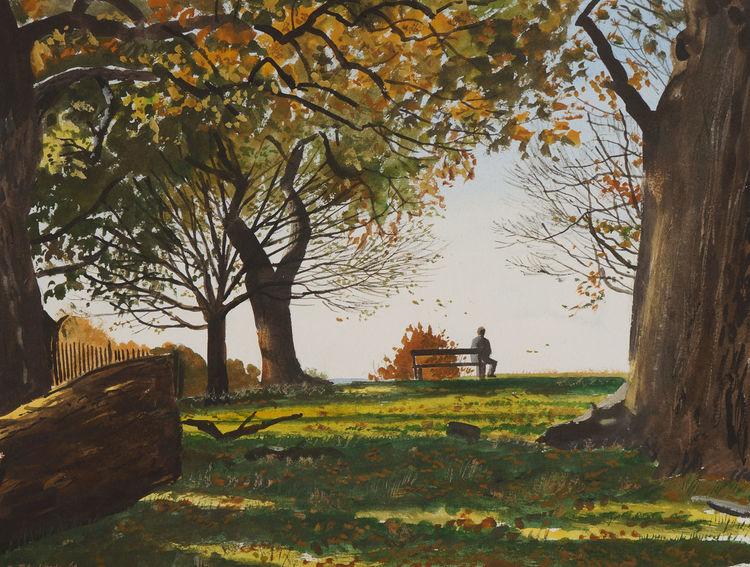 Bleistiftzeichnung, Landschaft, Licht, Blau, Realismus, Herbst