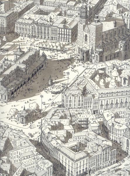 Stadt, Zeichnung, Tusche, Platz, Straße, Realismus