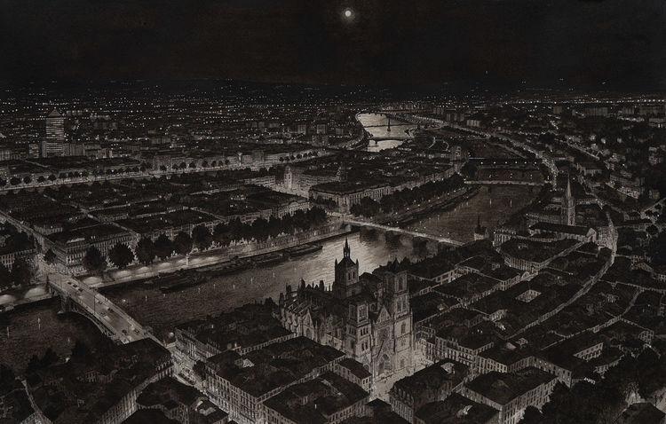 Schwarz weiß, Aquarellmalerei, Weiß, Lyon, Stadt, Architektur