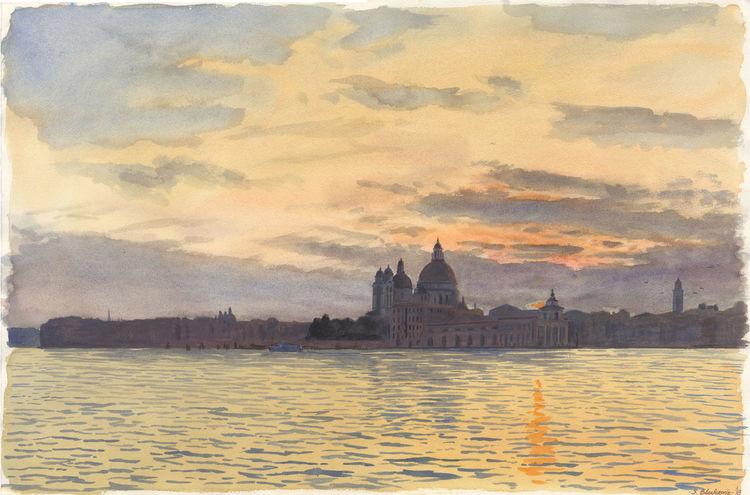 Aquarellmalerei, Sonnenuntergang, Abend, Architektur, Stadtlandschaft, Venedig