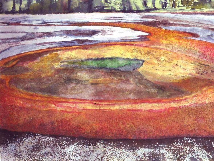 Geysir, Wasser, Yellowstone, Lava, Malerei, Inktober