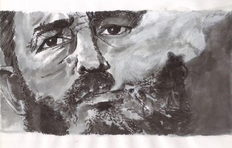 Menschen, Rauch, Portrait, Mann, Augen, Schwarz weiß