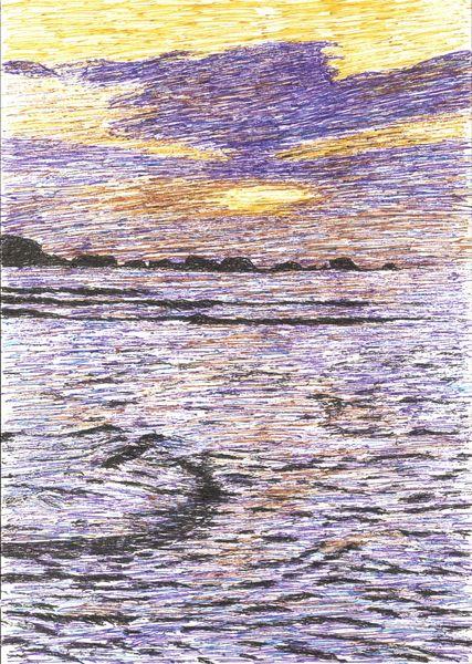 Bunt, Welle, Sonne, Zeichnung, Wasser, Strand